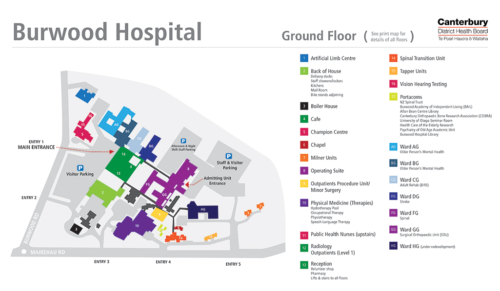 A map showing the layout of the hospital