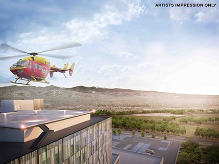 The new Acute Services building will feature a helipad.